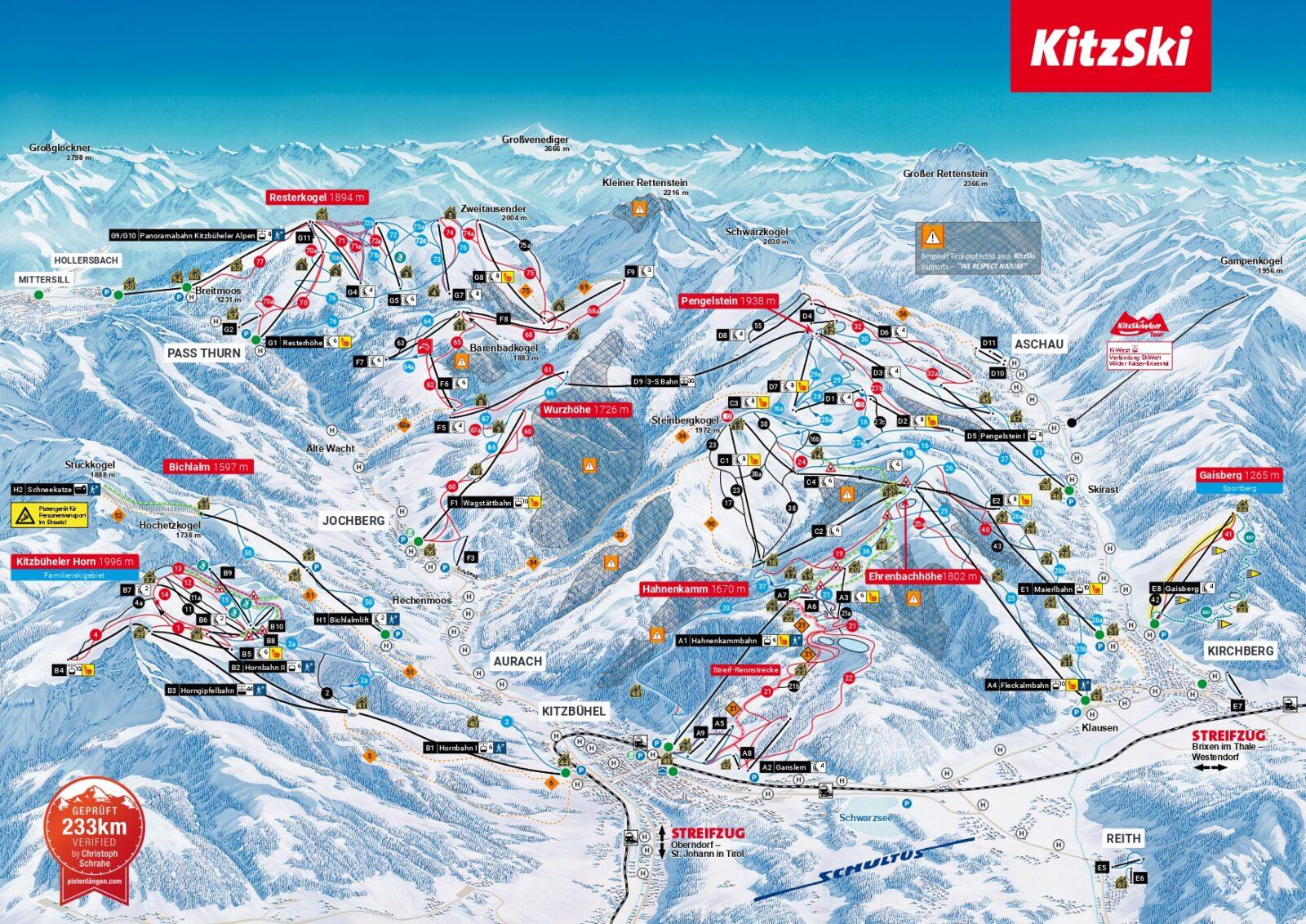 KitzSki Kitzbühel - Kirchberg map