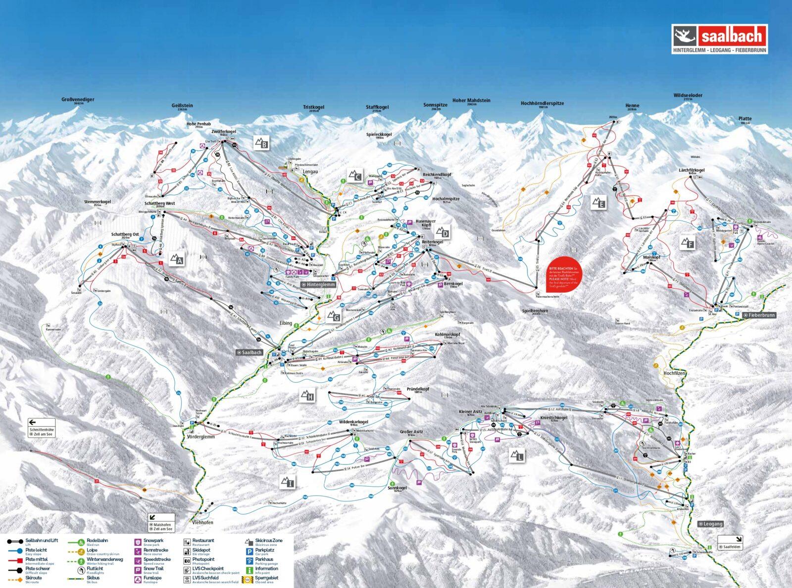 Skicircus Saalbach Hinterglemm Leogang Fieberbrunn map