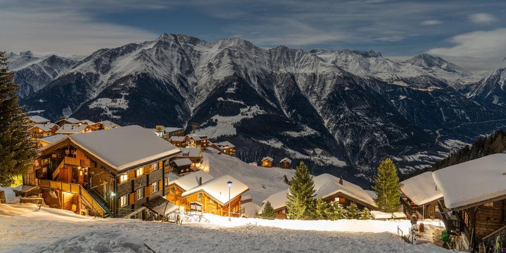 Aletsch Arena dorp in bergen